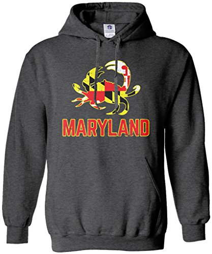 Threadrock Maryland State Flag Crab Emblem Unisex Hoodie Sweatshirt XL Dark Heather