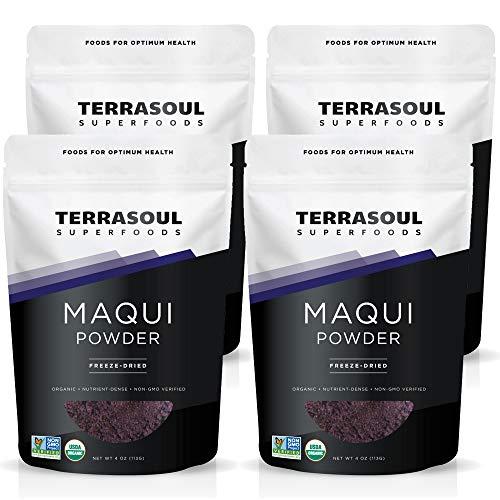 Terrasoul Superfoods Organic Maqui Berry Powder, 1 Lb (4 Pack) (Maqui Juice Berry)