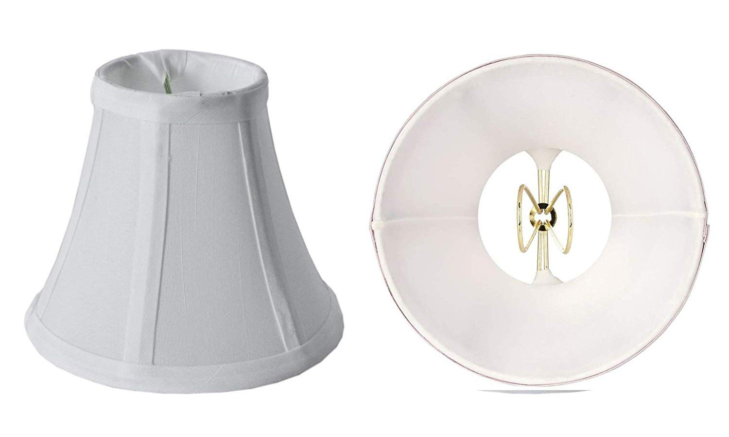 Mestar Decor Set of 2 Mini Bell Lamp Shade Lampshade 5''H Clip On Style for Chandeliers Wall Sconces Accent Lamps Beautiful Lighting Decor - White (2pcs)