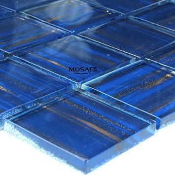 Glasmosaik Mosaik Fliesen Blau Gold Metall Xxmm Amazonde - Glasmosaik fliesen blau