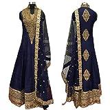Caffoy Cloth Company Women's Dark Blue Color Bangalori Silk Designer Embroidered New Arrive Anarkali Salwar Suit For Wedding.