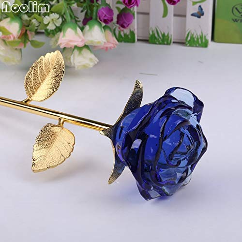 Gold Happy Crystal Glass Rose Flower Figurines Craft Wedding Valentine's Day Favors and Gifts Souvenir Table Decoration Ornaments