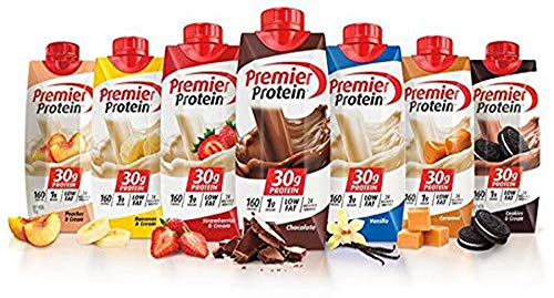 Premier Protein High Protein Shakes Variety Pack (Chocolate, Vanilla, Strawberry  Cream, Bananas  Cream, Caramel, Peaches  Cream, Cookies  Cream - 11 fl. oz, 7 pack)