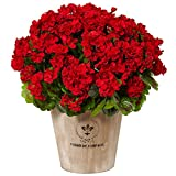 Nearly Natural Geranium Silk Flowering Plant in Farmhouse Planter, Red