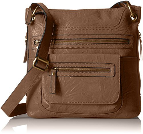 Bueno of California Faux Leather Crossbody, Gold Tan