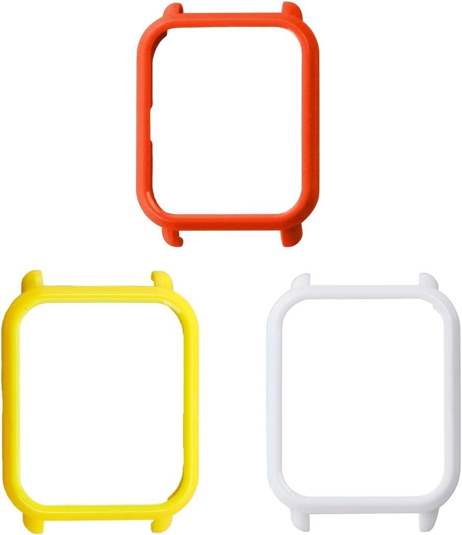 UKCOCO Funda Amazfit Bip, 3 Piezas de plástico Duro Funda para Reloj Inteligente Cubierta Protectora Marco contra rayones Parachoques para Xiaomi Huami Amazfit Bip (Amarillo/Blanco/Rojo)