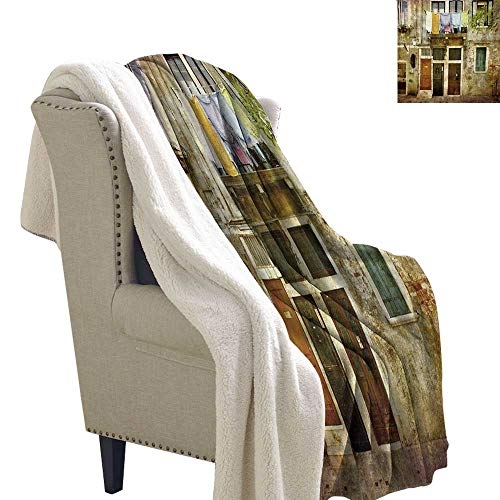 Gabriesl Venice Lightweight Microfiber Blankets 60x78 Inch Old Weathered Building Facade with Hanged Clothes Murano Island Grunge Architecture Queen Blanket Multicolor