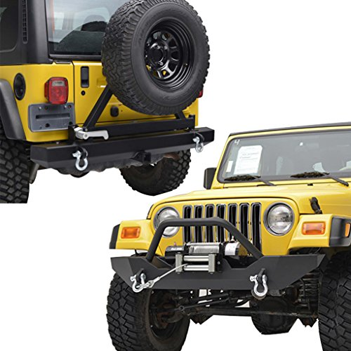 TJ Jeep Wrangler Front and Rear E-Autogrilles Bumper Combo with Winch Plate and Tire Carrier