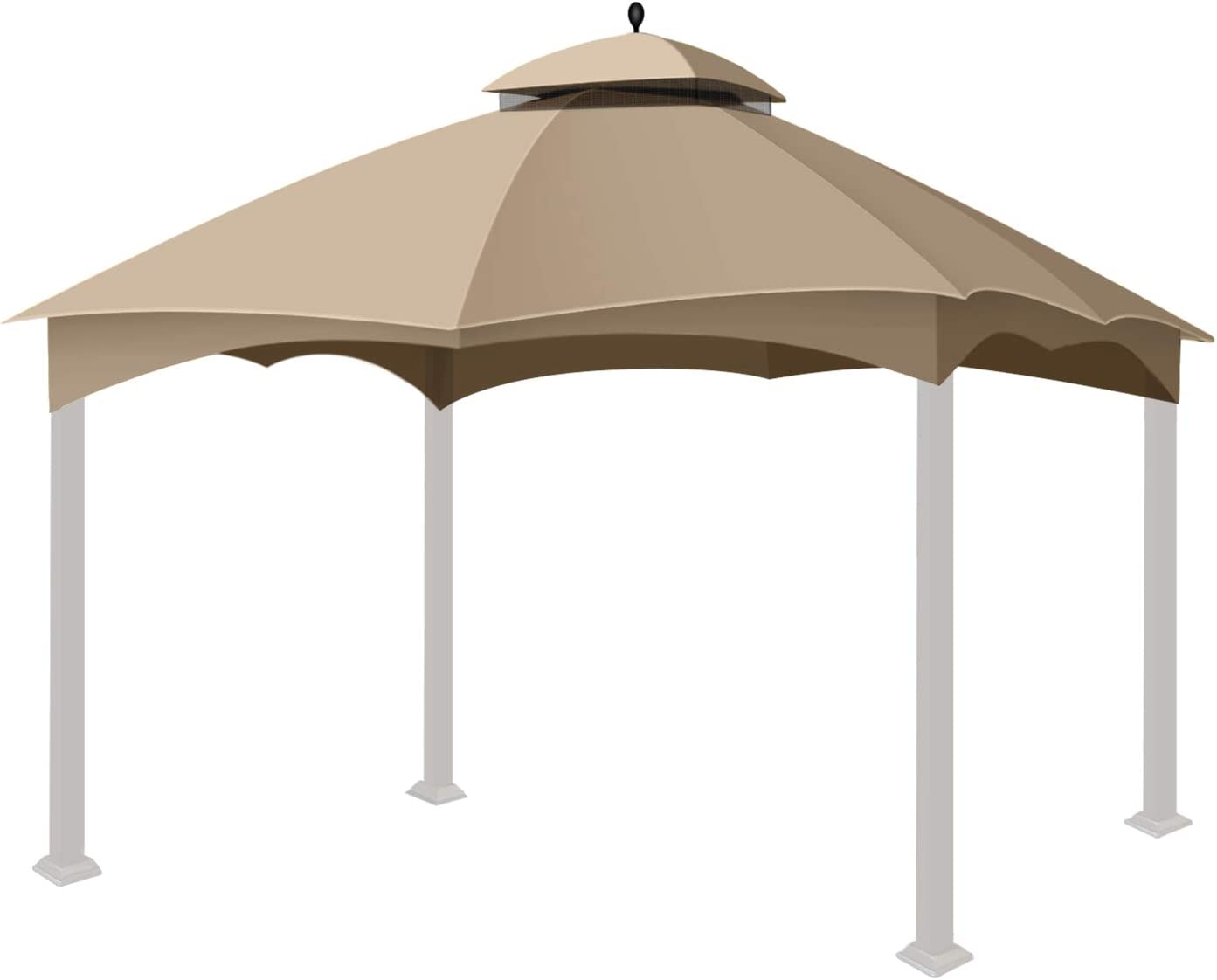 Flexzion Gazebo Replacement Canopy Top Tent for Lowe's Home Depot Allen & Roth 10 X 12 Feet UV UPF 50+ Dual Tier Plain Edge Water-Resistant Cover Shade Outdoor Garden Backyard Patio Gazebo, Beige