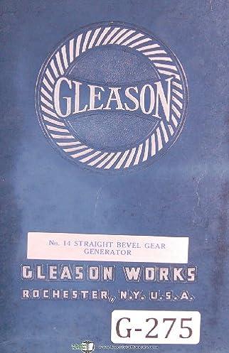 gleason operators instruction no 14 straight bevel gear generator rh amazon com Worm Gear Bevel Gear Design