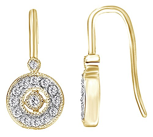 - Pave Set Diamond Vintage Halo Earrings In 10K Solid Yellow Gold (0.35 cttw)