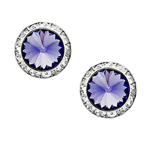 "Round Deep Purple Rivoli Cut Rhinestone Earrings, Clear Rhinestone Border, 1/2"" - Avenues Women's Center"