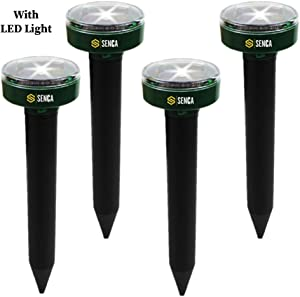 SENCA LED Solar Powered Sonic Mole Repellent, 4 Pack, Ultrasonic Pest Repeller, Repel Mole, Gopher, Vole, Mouse, Chaser for Outdoor Lawn Garden Yards, Humane Pest Control Rodent Repellent