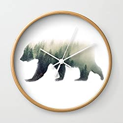 Society6 Grizzly Bear Dream Wall Clock Natural Frame, White Hands