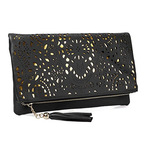 BMC Womens Jet Black Perforated Cut Out Pattern Gold Accent Background Foldover Pouch Fashion Clutch Handbag by b.m.c
