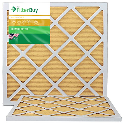 FilterBuy 21x22x1 MERV 11 Pleated AC Furnace Air Filter, (Pack of 2 Filters), 21x22x1 - Gold ()