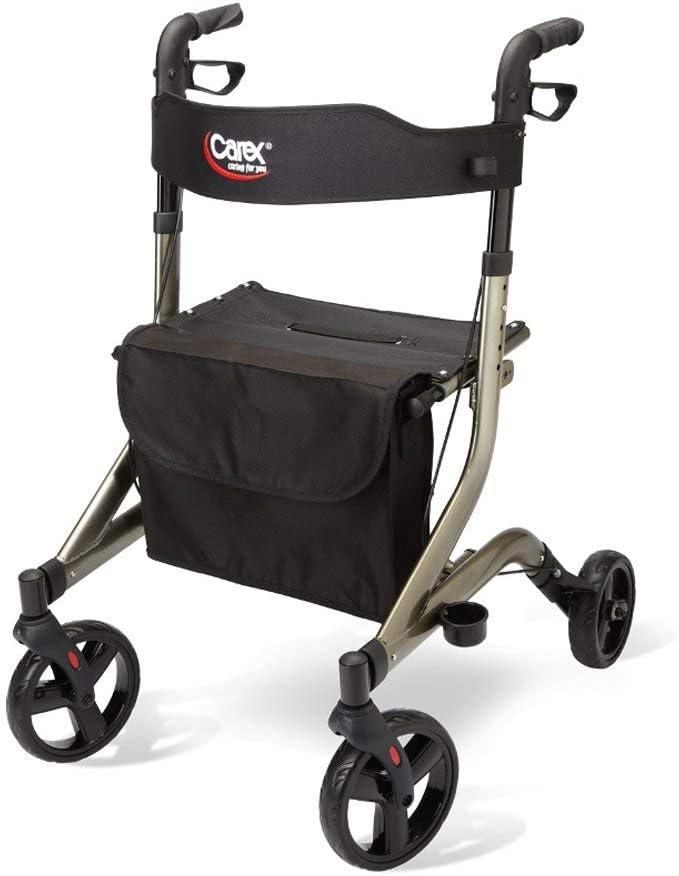 Carex Crosstour Rolling Walker Rollator - Rolling Walker with Seat - Folding, Euro Style Rollator, 4 Wheel Walker for Seniors- 300lb Capacity