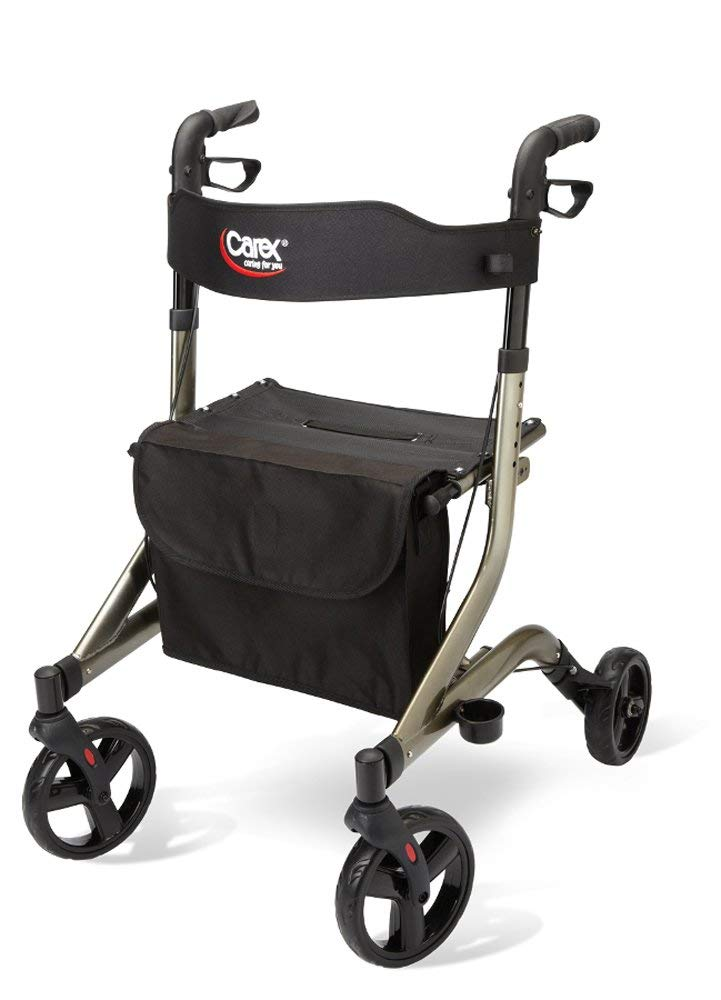 Carex Crosstour Rolling Walker Rollator - Rolling Walker with Seat - Folding, Euro Style Rollator, 4 Wheel Walker for Seniors- 300lb Capacity by Carex Health Brands