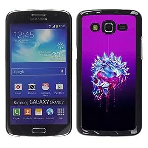 Be Good Phone Accessory // Dura Cáscara cubierta Protectora Caso Carcasa Funda de Protección para Samsung Galaxy Grand 2 SM-G7102 SM-G7105 // Purple Crystal Black Skull Bling Diamond