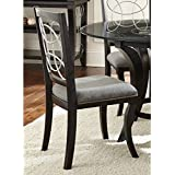 "Modern Solid Wood Frame with a Metal Apron Calypso Black/ Charcoal Grey Upholstered Side Chairs / Dining Chairs (Set of 2) 846-900. 39""H x 23""D x 20""W - Assembly Required"