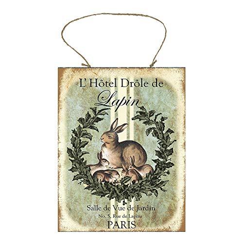 French Bunnies Printed Handmade Wood Sign -