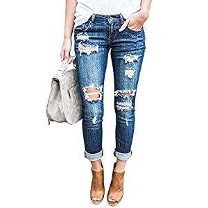 chimikeey Womens Skinny Stretch Denim Jeans Distressed Ripped Roll Up Ankle Pants