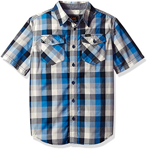 Drees Up Boys (LEE Boys' Big Short Sleeve Button Up Shirt, Blue Night)