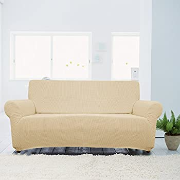 PANOVOUS Beige Jacquard Sofa Stretch Furniture Sofa Slipcover