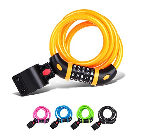 TONYON Mountain Bike Lock Cable Bike Lock Long High Elastic Steel Cable Anti-Theft Bicycle Lock Ring Coiling Resettable Combination Cable Bicycle Lock TY01 (Yellow)