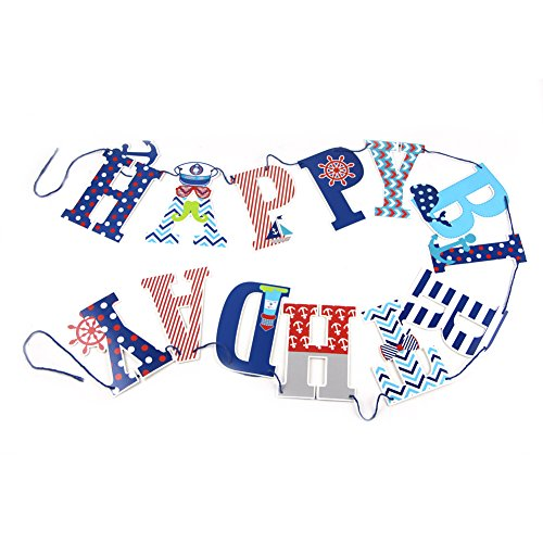 Nautical Party Theme Happy Birthday Banner 1st Birthday Boy Baby Shower Highchair Decoration SUNBEAUTY (Ocean Style) -