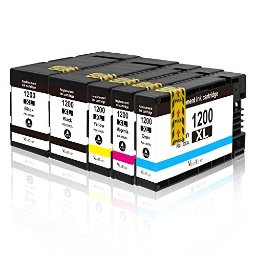 Valuetoner 5 Pack PGI-1200 XL Compatible Ink Cartridge Replacement for Canon PGI-1200XL for Canon Maxify MB2320 MB2020 MB2350 MB2050 MB2120 MB2720 Inkjet Printer (2 Black, 1 Cyan, 1 Magenta, 1 Yellow) - Empty Color Inkjet