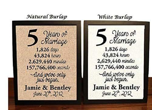 5 Years Wedding Anniversary Gift: Amazon.com: 5 Year Anniversary Burlap Print
