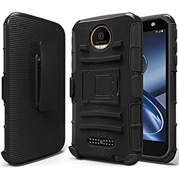 Moto Z Case, Moto Z Droid Case, NageBee [Heavy Duty] Armor Shock Proof Dual Layer [Swivel Belt Clip] Holster with [Kickstand] Combo Rugged Case for Motorola Moto Z Droid Edition - Black