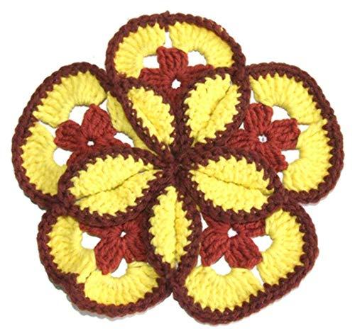 Vintage Handmade Crocheted Brown & Yellow Flower Shaped Pot Holder Doily