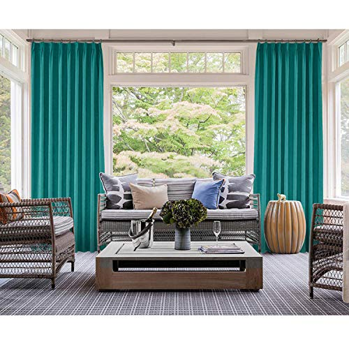 (cololeaf 52W x 84L Inches Pinch Pleated Blackout Curtains Drapery Panel for Traverse Rod Or Track, for Bedroom Meetingroom Hall Studio GSM Office Club Theater Patio Door,Turquoise (1 Panel))