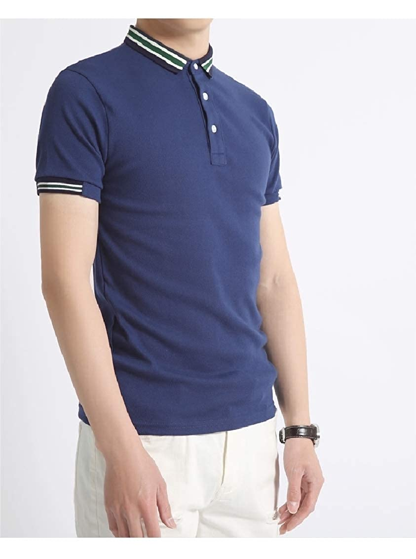 Fieer Mens Business Lounge Plus Size Short-Sleeve Top Tees Polo