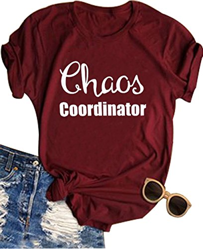 Women Chaos Coordinator Letter Printed T-Shirt Funny Short Sleeve Tops Tee (XX-Large,Wine Red)