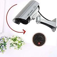 TOPmountain Outdoor Indoor Dummy Fake Led Flashing Security Cameras,Fake Led Flash Surveillance Camera-Silver