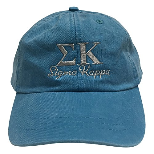 [Sigma Kappa (S) Bright Blue Sorority Baseball Hat Greek Letter Cap with Gray Thread One Size Adjustable Strap] (Frat Brothers Costume)