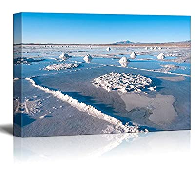 Canvas Prints Wall Art - Beautiful Scenery/Landscape - Salt Lake - Salar De Uyuni in Bolivia | Modern Wall Decor/Home Art Stretched Gallery Canvas Wraps Giclee Print & Ready to Hang - 24