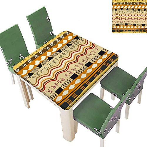 Primitive Cloth Doll Patterns - Printsonne Polyesters Tablecloth Seamless Tribal Pattern with Silhouettes of The Primitive People Wedding Birthday Party 50 x 50 Inch (Elastic Edge)