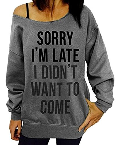 Lyxinpf Women's Letter Print Sweatshirts Sexy Off Shoulder Slouchy Shirts Pullover Long Sleeve Casual Tops Grey - Round I A Want Face