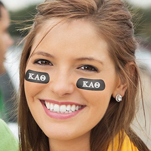 ​​​​​​(24 Strips) Kappa Alpha Theta Greek Eye Black Anti Glare Strips, Great for Rush, Bid Day, &​ ​Tailgates (Accessories Alpha Black)