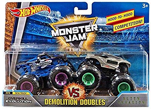 Hot Wheels Monster Jam Demolition Doubles OverKill Evolution VS Alien Invasion 1:64 Diecast