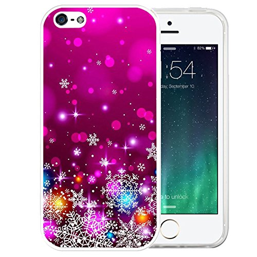 iPhone SE Case Christmas,iPhone 5S Plus, LAACO Beautiful Clear TPU Case Rubber Silicone Skin Cover for iPhone SE / 5 / 5S - Rose red snowflakes