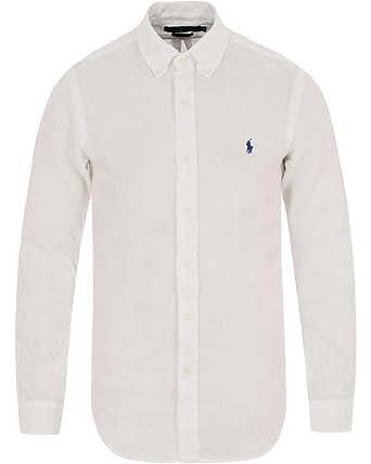 Ralph Lauren Herren Freizeit-Hemd, einfarbig weiß Bianco M