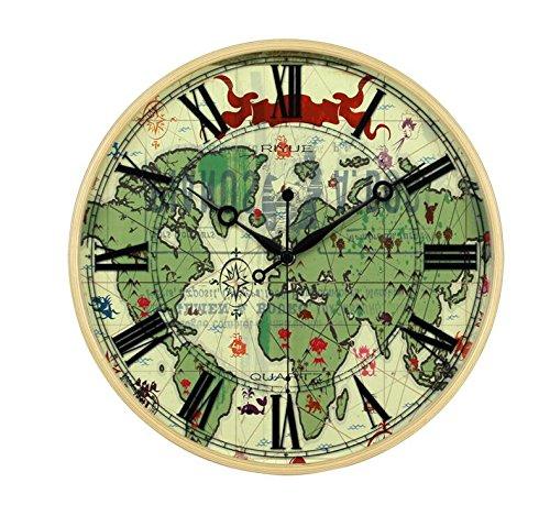 besplore Galaxy磁気時計、壁時計、デスクトップクロック、ブラック ZM-SJDTGZ B07CYZQVBSC1-world Map
