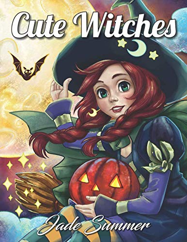 Halloween Coloring Page (Cute Witches: An Adult Coloring Book with Magical Fantasy Girls, Adorable Gothic Scenes, and Spooky Halloween)