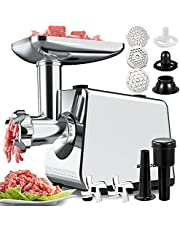 2000W Electric Meat Grinder,Multifunction Meat Mincer & Sausage Stuffer with Sausage Tube Kubbe Maker 2 Stainless Steel Blades 3 Plates for Home Kitchen Commercial Use