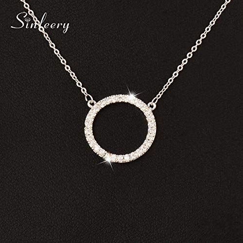 - JENNIE SHOP New Simply Micro Paved Crystal Round Circle Pendant Necklace for Women Jewelry(Silver)